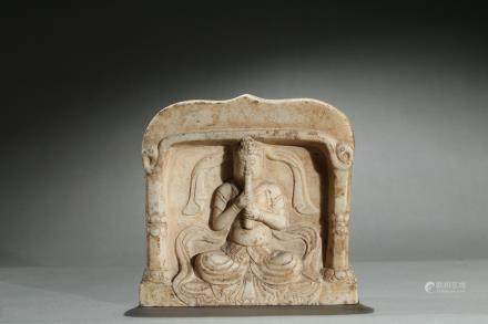 A marble carved buddhist figure stele