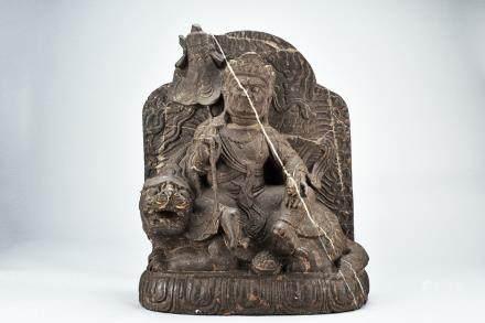 A rare stone stele of Jambhala