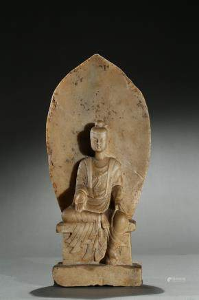 A white marble carved buddhist stele