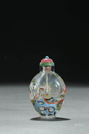 A glass enamel 'birds flowers' snuff bottle