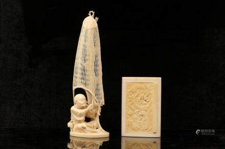 AN IVORY OKIMONO OF A FISHERMAN, TOGETHER WITH AN IVORY CARD CASE.