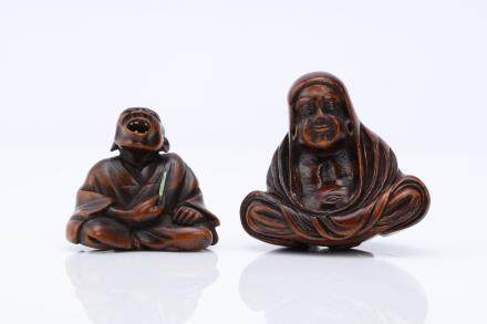 TWO WOOD NETSUKE.