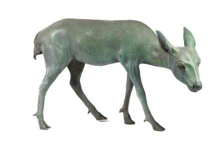 A LARGE BRONZE DEER.
