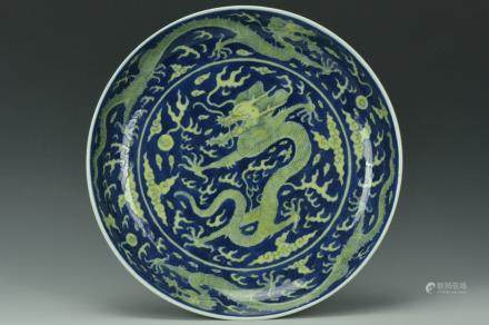 An Imperial Dragon Dish, Daoguang Mark and Period