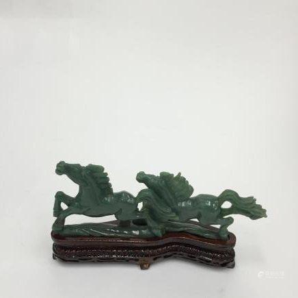 玉石雕策馬奔騰置物