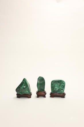 孔雀石擺件 3件