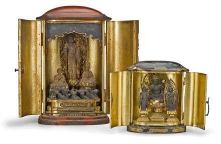 Two Buddhist portable shrines, zushi Edo era
