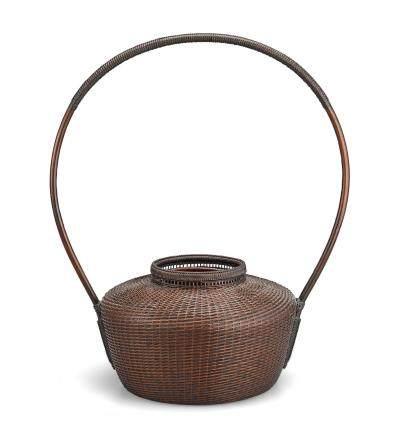 A lacquered rattan and bamboo ikebana basket By Tanabe Chuku'unsai II (1910-2000), Showa era, 1970s