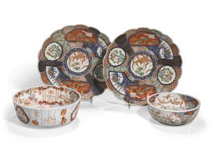 A group of four Imari porcelain containers Taisho/Showa era