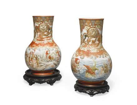 A pair of Kutani vases Meiji era
