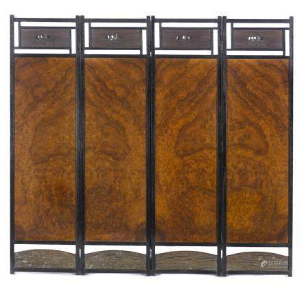A mixed wood four-panel floor screen Japan, 20th century