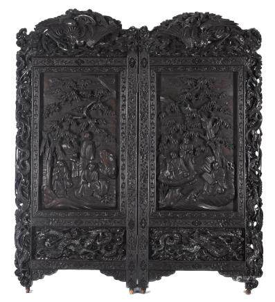 A lacquered wood two-panel floor screen Meiji era, late 19th century