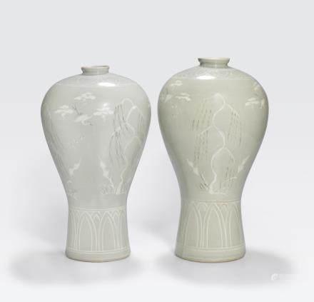 Two Goryeo style celadon glazed vases 20th century