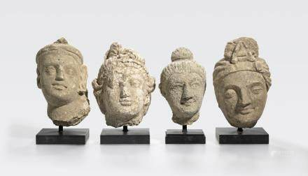 A group of four stucco heads Ancient region of Gandhara, 4th/5th century