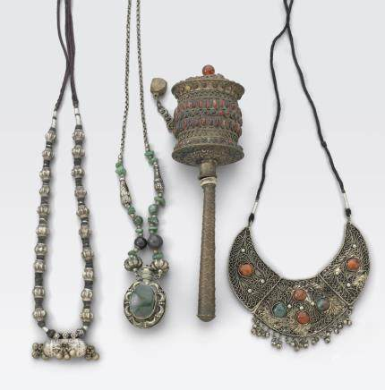 A group of four Himalayan or Mongolian metal objects