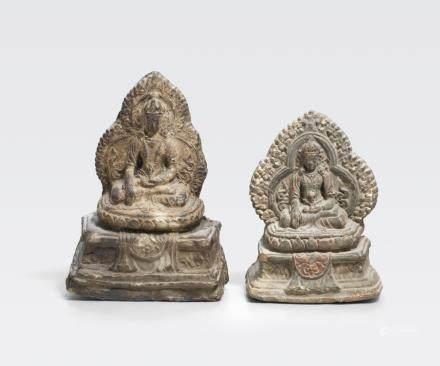 Two Tibetan or Mongolian Tsa-Tsa depicting Akshobya Buddha