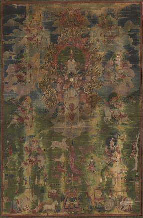 A thangka depicting the Nine Drala Brothers Tibeto-Chinese, 18th/19th century