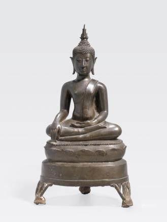 A Thai bronze seated Buddha 18th/19th century