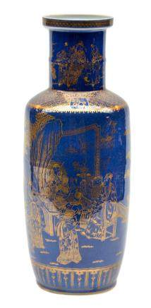 A blue-ground gilt decorated rouleau shaped vase, H 46,5 cm