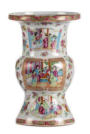 A Chinese famille rose Gu vase, the roundels decorated with court scenes, 19thC, H 39,5 cm