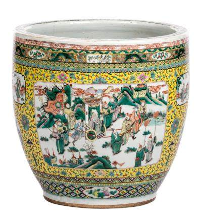 A Chinese yellow ground famille verte fish bowl, the roundels decorated with an animated scene, peacocks on a flower branch and landscapes, 19thC, H 50  - D 51 cm