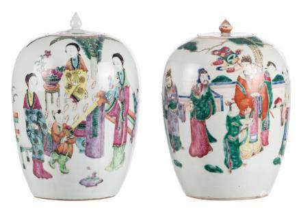 Two Chinese famille rose and polychrome decorated ginger pots and covers, one pot with court ladies and children on a terrace and one pot with immortals, 19th - 20thC, H 30 - 31,5 cm (chips to the rim)