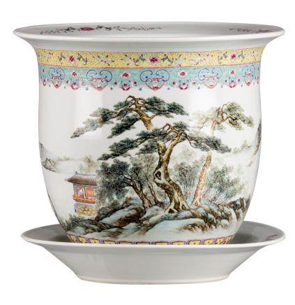 A Chinese famille rose and polychrome jardiniere with plate, decorated with figures, pagodas and pavilions in a mountainous river landscape, signed and marked, H total 34 cm - Diameter jardiniere 37,5 cm (hairline)