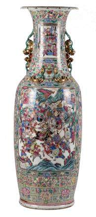 An impressive Chinese famille rose vase, decorated with court scenes and warriors, 19thC, H 134 cm