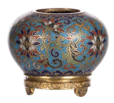 A Chinese miniature cloisonné pot with floral decoration with a four character mark