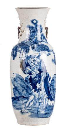 A Chinese blue and white and relief decorated stoneware vase with a savant in a landscape, marked, 19thC (damage)