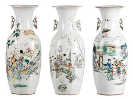 Three Chinese polychrome decorated vases with various animated scenes and calligraphic texts, H 58 - 58,5 cm