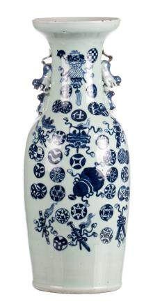 A Chinese celadon ground blue and white and relief decorated vase with auspicious symbols, 19thC, H 61 cm (chips to the rim)