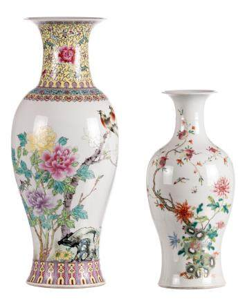 Two Chinese balluster shaped famille rose vases, one with birds on flower branches, one with pomegranates, one signed and marked, H 44,5 - 61 cm