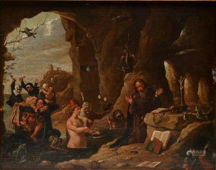 Non signed, the temptation of St. Anthony, oil - oak panel, late 19thC, copy in the16thC manner, 25 x 32 cm