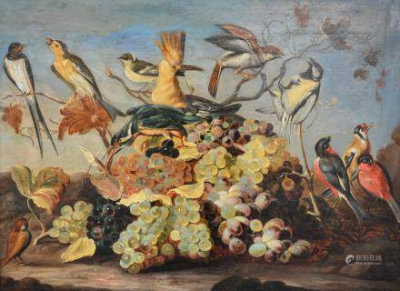 Unsigned, a still-life with bunches of grapes and various exotic birds, in the manner of Roelant Savery, oil on an oak cradled panel, late 16th - early 17thC, 49,5 x 66,5 cm