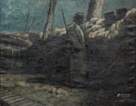 Leonard Ch., trench duty, oil on canvas, dated 1937, 73 x 92,5 cm