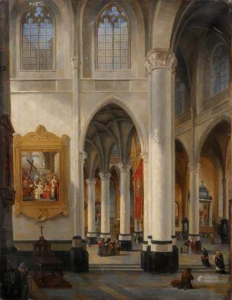 "De Cauwer E., ""Int. de l'Egl.e St Michel à Gand"", interior St. Michael's church in Ghent, dated 1848, oil on canvas, 41 x 53 cm (severely restored and minor damage)"