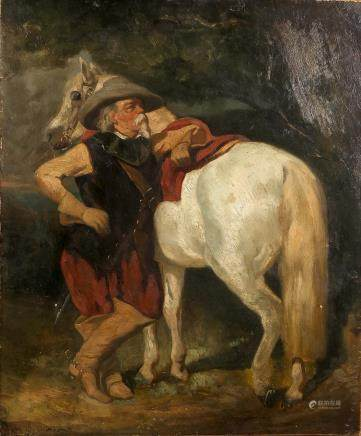 Illegibly signed (De Dreux?), rider with horse, oil on canvas, 19thC, 47 x 55 cm