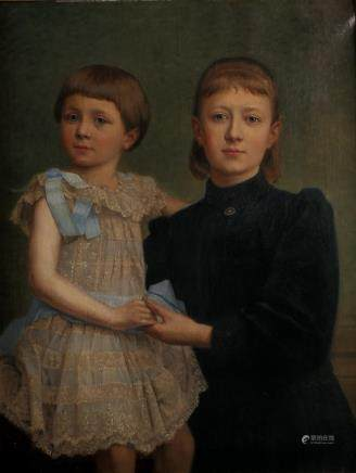 Unsigned, sisters, oil on canvas, about 1910, 62 x 80 cm