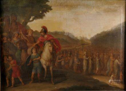 Allart... (attributed to), 'Le passage du Jourdain', oil on canvas, 18thC, 73 x 100 cm (minor damage)