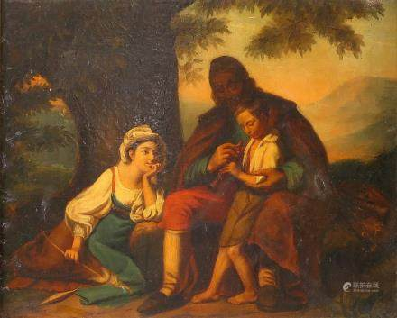 Bert E., the music lesson, oil on canvas, 19thC, 49 x 59,5 cm (severely restored)