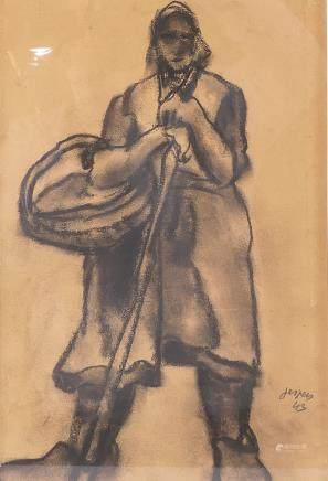 Jespers, peasant woman, charcoal on paper, dated (19)43, 20,5 x 30,5 cm