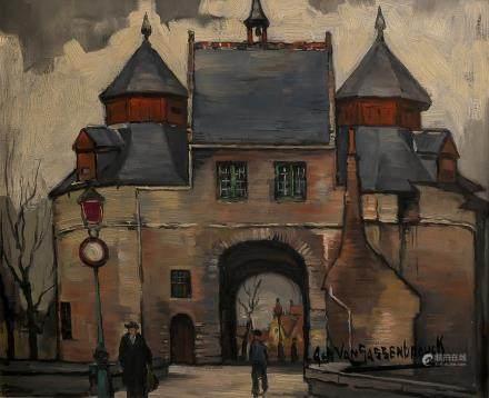 Van Sassenbrouck A., 'De Ezelpoort te Brugge', oil on panel, 38 x 46 cm