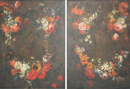 (Verbruggen G.P.), two portrait busts, both integrated in flower garlands, late 17thC oil on canvas, 66,5 x 92,5 cm