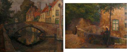 Rommelaere E., two views on Bruges, oil on panel and oil on canvas, 49 x 59 / 51 x 66 cm (minor damage)