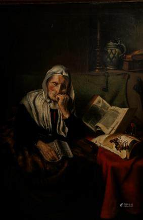 No signature, the dozing lacemaker, after Nicolaes Maes, oil on canvas, 74,5 x 106,5 cm (minor damage)