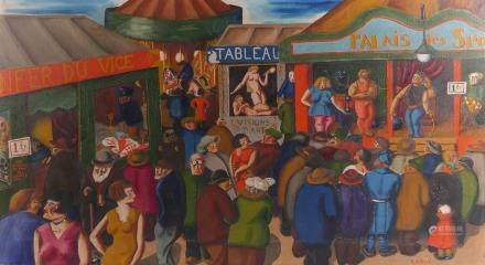 Labisse, 'La Foire', oil on canvas, 58,5 x 107,5 cm