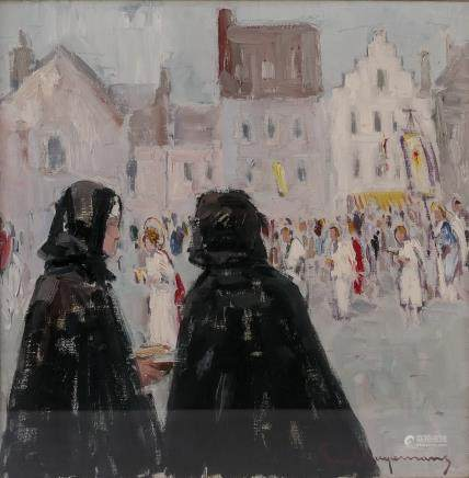 Hagemans P., 'La procession sur le marché', oil on canvas, 20thC, 50,3 x 50,3 cm