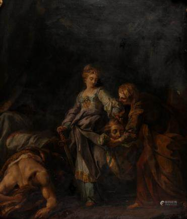 No signature, Judith and Holofernes, oil on canvas, 18thC, 86,7 x 104 cm (different restorations)