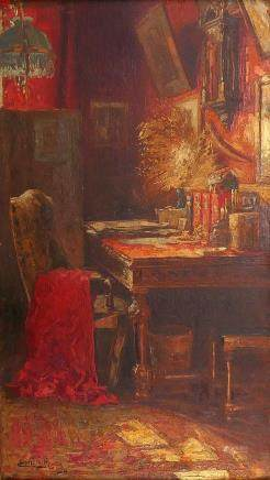 Baes E., a studio, oil on canvas, 20thC, 48 x 84 cm